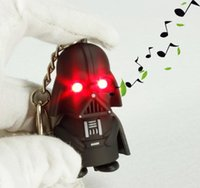 Wholesale Selling star wars Keychain Light Vocalization Black Knight Pendant Handsome Animation Pendant