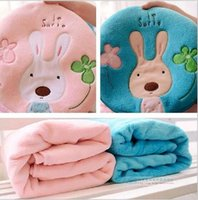 Wholesale 2015 Cute bunny cartoon baby coral velvet dual air conditioning blanket baby blanket large blanket out