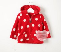 Wholesale Butterfly Polka Dots Cotton Velvet Dot Minnie Zipper Bowknot Children Clothing Girls Jacket Kids Clothes Outwear Coat Spring Autumn D4984