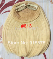 Wholesale retail clip in hair bangs franja synthetic curtain fringe blonde color hairpieces supply from factory directly