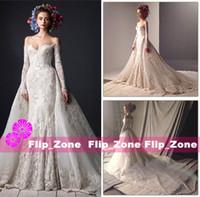 al caps - Cathedral Train Lace Wedding Dresses Rami Al Ali Long Sleeves Off Shoulder Bateau Plus Size Bridal Ball Gowns Vestido De Noiva