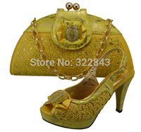 Cheap GF8009 Yellow color,Fashion nice matching shoe and bag set,Hot selling Italian lady shoes and bag sets with rhinestones
