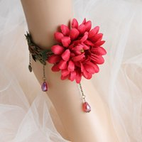 Wholesale Big Red Flower Bohemia Bridal Anklets Bridal Foot Chain Beach Wedding Boho Wedding Style Cheap Bridesmaid Foot Accessories