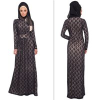 Cheap Arabic Black Lace Muslim Evening Dresses High Neck Long Sleeves Prom Party Gowns A-line Floor Length Maxi Women Special Occasion Dress