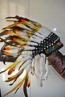 Wholesale 21 inch length Indian Headdress feather headdress native american costumes indian war bonnet