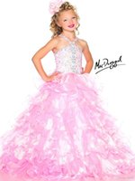 Wholesale High Quality Beaded Straps Ruched Waist Tulle Sugar Little Girl Pageant Dress Flower Girl Dresses Custom Made