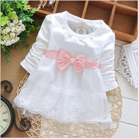 Wholesale Fashion Spring Autumn Long Sleeve lace Bow cute baby Party Birthday girls kids Children dresses princess infant Dress S1853