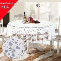 Wholesale 1 PVC Tablecloth Table Cloth cm Round Oilproof Waterproof Table Cover Hollow Out Grid Floral Wedding Floral