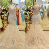 Wholesale Real Image Champagne Feather Prom Dress Crystal Jewel Glitter Vestidos De Fiesta V Neck Beads Mermaid Celebrity Evening Gowns E4263