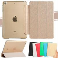 Stand de luxe Housse en cuir iPad PRO Air 5 6 Mini 1 2 3 4 Retina Silk Pattern Bling Transparent Smart Back Cover Réveil automatique / Fonction sommeil