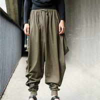 Wholesale Men Women Japanese Samurai Style Boho Casual Low Drop Crotch Loose Fit Harem Baggy Hakama Capri Cropped Linen Pants Trousers