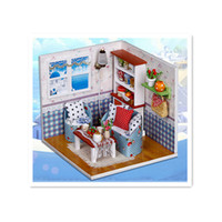 Wholesale 2016 Novelty DIY D Wooden Doll house with Furniture Miniatura Puzzle Model Handmade Dollhouse Warm Memories
