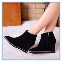 Wholesale ENMAYER Size Black wedges martin boots solid zip pointed toe fashion ankle boots full grain leather boots for women