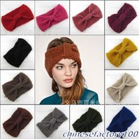 Wholesale Women Wool Hairband Crochet Headband Knit Flower Ear Fashion Winter Warmer Headwrap Popular Gray Black Red