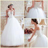 Wholesale Bling Luxury A Line Wedding Dresses Sweetheart Lace Up Floor Length Sleeveless Wedding Dress Crystal Lace Designer Wedding Dress