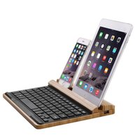 bamboo tablet wireless - Bamboo Keyboard for iMac for Macbook for iPad Tablet PC Keyboard Wood Holder Stand Wireless Bluetooth Multimedia Wooden Keyboard