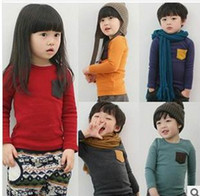 Wholesale Children Long Sleeve T shirts Pocket Candy Color Thick Cotton T shirts For Boy Girl