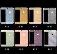 Wholesale Full Body Glitter bling Screen Protector Sparkle shimmer Film Shinny rhinestone Sticker Front Back for iPhone S S S plus DHL