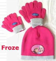 cotton knitted gloves - Christmas Gift Winter Frozen cap hats Elsa Anna Headwear knitted hat cotton warm gloves Glove gifts for girl children kids packing paper