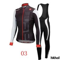 Wholesale Castelli Cycling Jersey Set Long Sleeve Padded Winter Thermal Fleece Road Racing Bicycle Clothes Close Fitting Bike Wear
