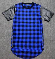 leather shirt - Tyga Red Blue Plaid Golden Zip Men women hip hop swag extended Lengthen Leather T shirt Oversized Men T Shirt Cool Tee