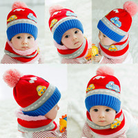Wholesale New Cute Baby Girl Boy Knitted Hat Scarf Set Cartoon Car Pattern Fleece Warm Cap Neck Warmer Two Piece Set Hat and Scarf Set DHL GA0137