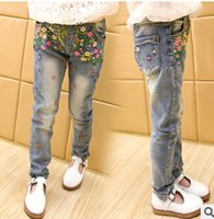 Wholesale 2016 spring new girls embroidered light colored jeans feet shipping