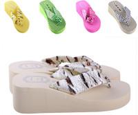 pink zebra - 2015 hot sales summer fashion candy Bohemian style ZEBRA dots platform heels Flip flops Slipper Women Sponge cake wedge scuff shoes