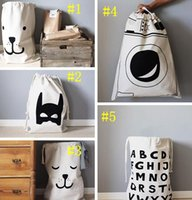 baby clothing fabric - Free DHL Baby bedroom Storage Canvas Bags new Kids Room cute Decorate Outdoor Lovely Cartoon bear batman Laundry Bags