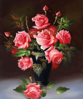 Wholesale 3D D DIY Diamond Painting Red Flower Vase Rhinestone Cross Stitch Kits Diamond Embroidery Needlework Set Cheap