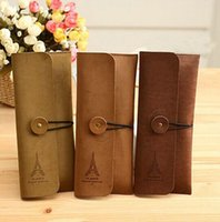 american stationery - Wallet card bag fashion hot style tower PVC card bag creative pencil stationery pen bag Vintage leather phone bags cheap bags