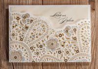 Wholesale Wedding Invitations Champagne Paper Blank Card Laser Cutting Lace Pattern Wedding Invitation Flowers Hollow Wedding Cards IV02