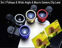 Wholesale Universal in1 Clip On Fish Eye Lens Wide Angle Lens Macro Mobile Phone Lens For iPhone Samsung Galaxy S4 S5 All Phones