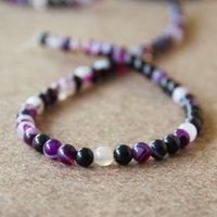 Wholesale 2015 Hot sale mm Fashion New Purple Stripe Natural Agate beads Round shape Jasper Loose stones inch Jewelry making design