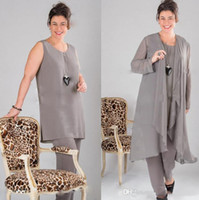Wholesale Gray Mother of the bride Dresses Long Sleeve Plus Size Mother Of The Bride Pant Dresses Suits With Jacket Mother off Bride Dresses