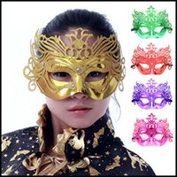 Wholesale 2015 New Halloween Party Mask Venetian mask masquerade masks Costume Party Mask shining plated Mask For Lady Women Refly