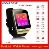 Wholesale Bluetooth smart watch phone with G SIM card MP camera Bluetooth support Android and IOS smart phone for calling music facebook S29