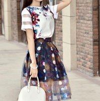 Wholesale 2016 hot new summer dresses lovely romantic type of dress Chiffon printing round collar dress one set t shirts ball Gown dress