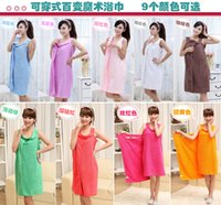 absorbent bath robe - Hot Sales Women Lady SPA Shower Robe Body Wrap Bath Towel Bathrobe Swimwear Dress Gown Absorbent