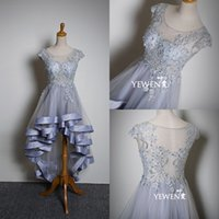 Wholesale Custom Made Sheer Neck Lace Women Evening Dresses With Short Sleeves Gorgeous Hi Lo High Low Prom Dresses Formal See ThroughNew Arrival
