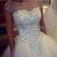 Wholesale Ball Gown Wedding Dresses New Gorgeous Dazzling Princess W1455 Bridal Real Image Luxurious Tulle Handmade Rhinestones Crystal Sheer Top