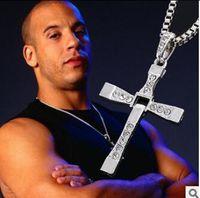 amethyst crosses - Dominic Toretto Vin New Movie Jewelry Classic Rhinestone Pendant Sliver Cross Necklaces Men W016