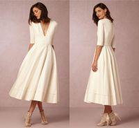 Wholesale Deep V neck BHDN Beach Wedding Dresses Half Sleeves A line Tea Length Satin Evening Gowns Cheap Bridal Dresses
