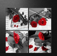 Cheap 4PCS Violin Red Rose Flower Home Decorative Canvas Painting Wall Painting Oil Picture On Canvas Prints Modern Living Room Art