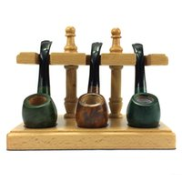 Cheap Wholesale-Solid Wood Egg Briar 3 pcs Smoking Pipe Rack Stand Smoking Pipe Holder Smoking Pipes Tobacco Pipe Rack Hold Free Shipping