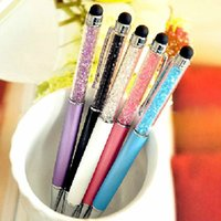 Wholesale 2 in Swarovski colorful Crystal Capacitive Touch Stylus Ball Pen for ipad iPhone HTC Samsung Lenovo Mi