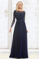 Wholesale New Charming Navy Blue Long Sleeves Long Mother Of The Bride Dresses Lace Applique Chiffon Evening Prom Dress