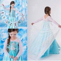Cheap Elsa Dress Movie Cosplay Dress Summer Girl Dress Frozen Princess Elsa Costume for Children 2-7 years girl