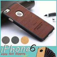 wooden case - Wooden iPhone Case Made from Imitation Wood Grain PC Plastic Back Panel with Rubber Bumper Classical Vintage Retro Style