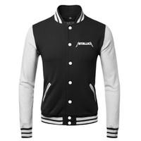 rocking skateboard - Hot Sale Winter Tracksuits Sportswear Mens Skateboard Hip Hop Coats Printed Metallica Rock Band Streetwear Baseball Jacket Men
